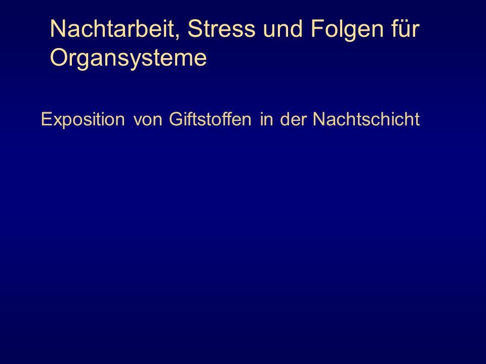 Nachtarbeit, Stress und Folgen für Organsysteme Exposition von Giftstoffen in der Nachtschicht