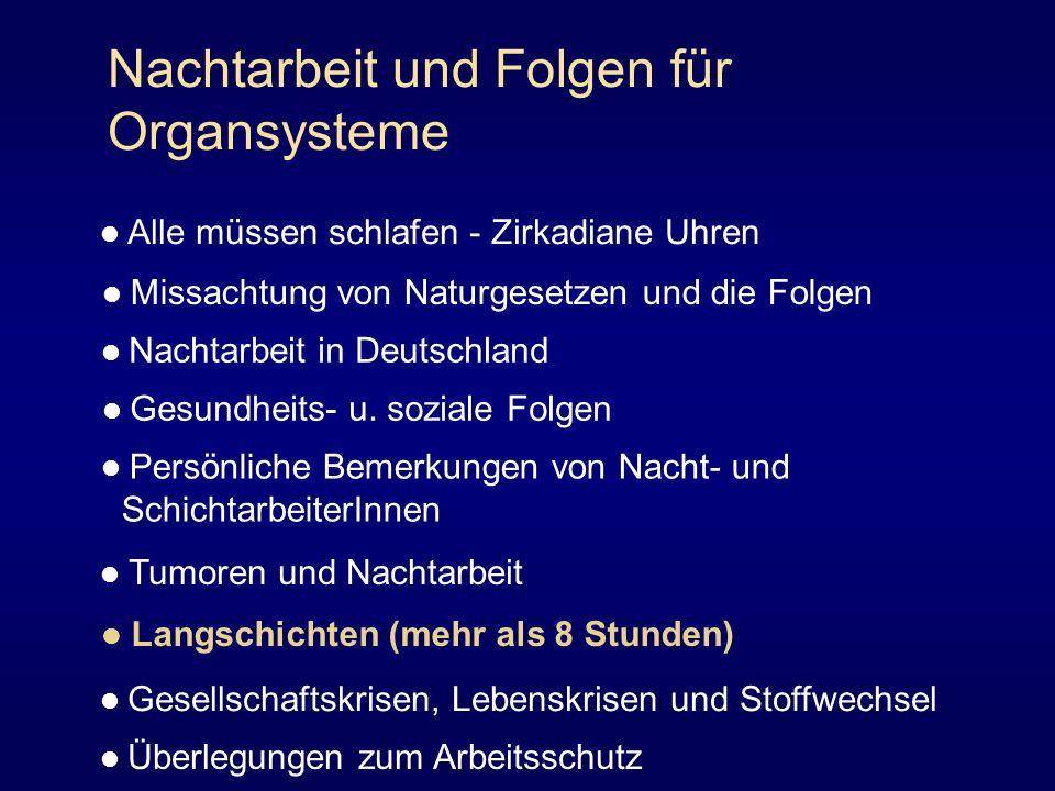Nachtarbeit und Folgen für Organsysteme Alle müssen schlafen - Zirkadiane Uhren Missachtung von Naturgesetzen und die Folgen Nachtarbeit in Deutschlan