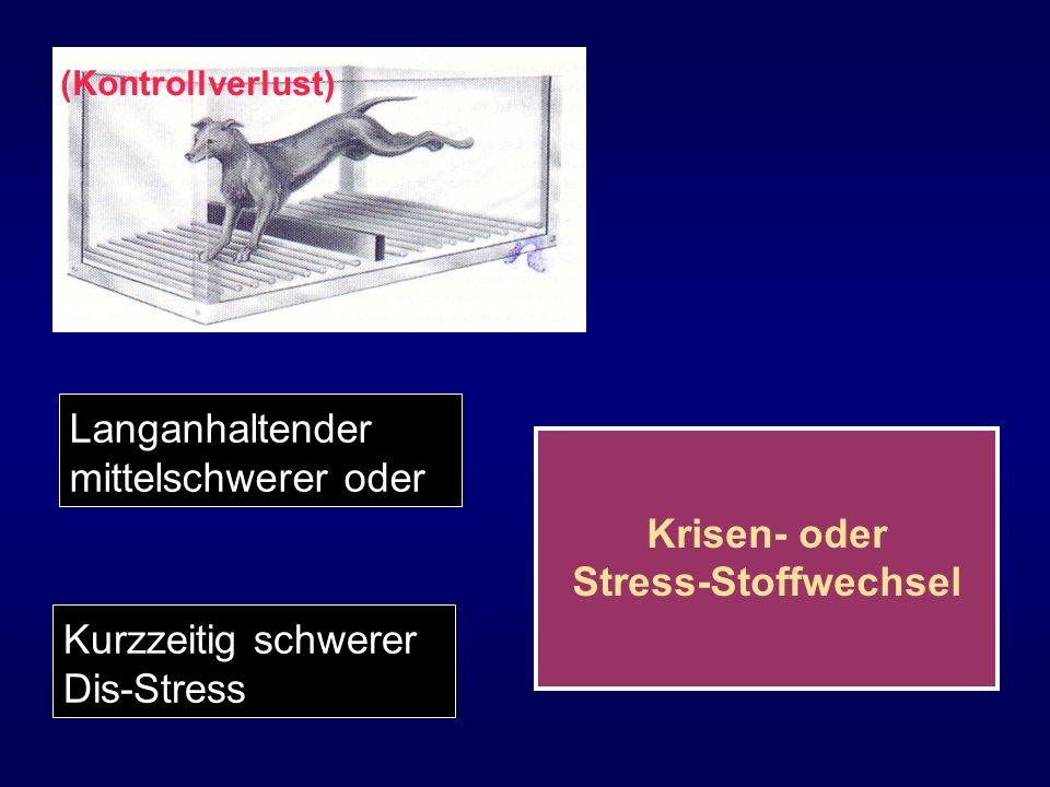 Langanhaltender mittelschwerer oder Krisen- oder Stress-Stoffwechsel Kurzzeitig schwerer Dis-Stress (Kontrollverlust)
