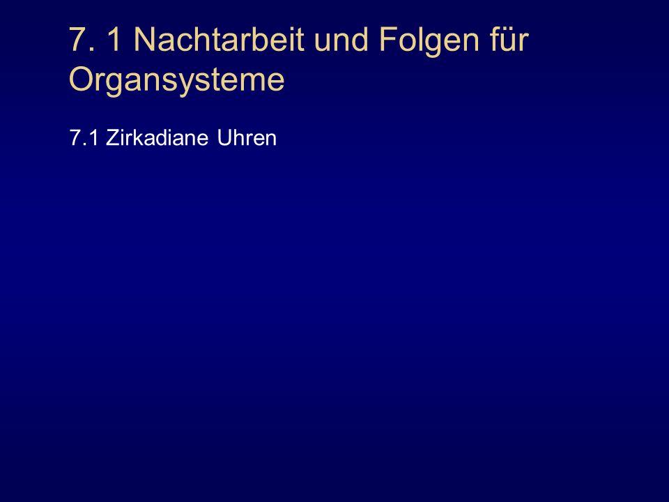 7. 1 Nachtarbeit und Folgen für Organsysteme 7.1 Zirkadiane Uhren