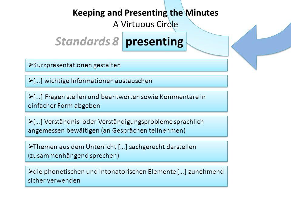 Kurzpräsentationen gestalten […] wichtige Informationen austauschen [...] Fragen stellen und beantworten sowie Kommentare in einfacher Form abgeben […] Verständnis- oder Verständigungsprobleme sprachlich angemessen bewältigen (an Gesprächen teilnehmen) Themen aus dem Unterricht […] sachgerecht darstellen (zusammenhängend sprechen) die phonetischen und intonatorischen Elemente […] zunehmend sicher verwenden listening writing presenting feedback Keeping and Presenting the Minutes A Virtuous Circle Standards 8 Die Schüler/innen verfügen über: einen hinreichend großen Wortschatz […] zur Benennung wichtiger grammatischer Erscheinungen einen zunehmend differenzierten Verknüpfungswortschatz (lexikalische Kompetenz)
