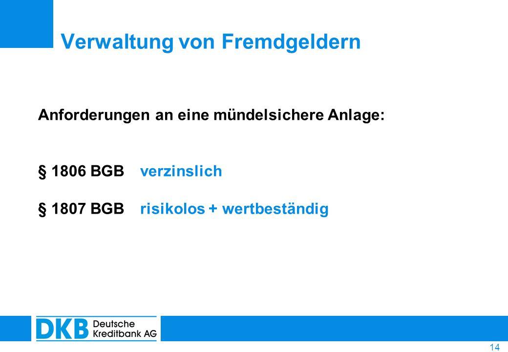 14 Anforderungen an eine mündelsichere Anlage: § 1806 BGB verzinslich § 1807 BGB risikolos + wertbeständig Verwaltung von Fremdgeldern
