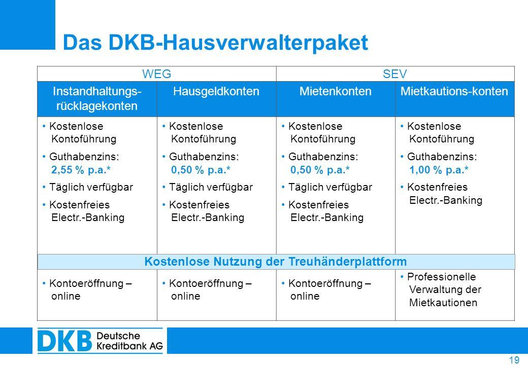 19 Das DKB-Hausverwalterpaket WEGSEV Instandhaltungs- rücklagekonten HausgeldkontenMietenkontenMietkautions-konten Kostenlose Kontoführung Guthabenzin