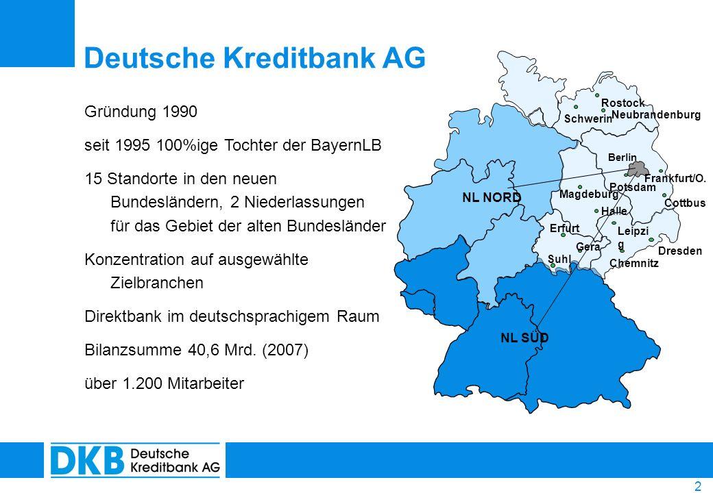 2 Gründung 1990 seit 1995 100%ige Tochter der BayernLB 15 Standorte in den neuen Bundesländern, 2 Niederlassungen für das Gebiet der alten Bundeslände