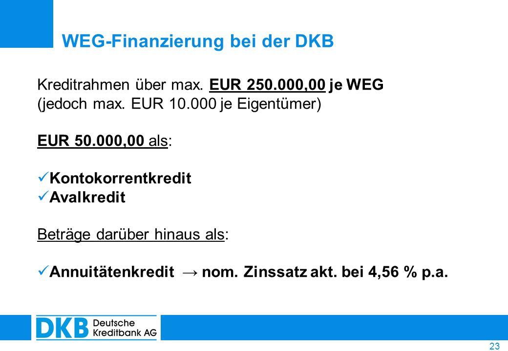 23 WEG-Finanzierung bei der DKB Kreditrahmen über max. EUR 250.000,00 je WEG (jedoch max. EUR 10.000 je Eigentümer) EUR 50.000,00 als: Kontokorrentkre