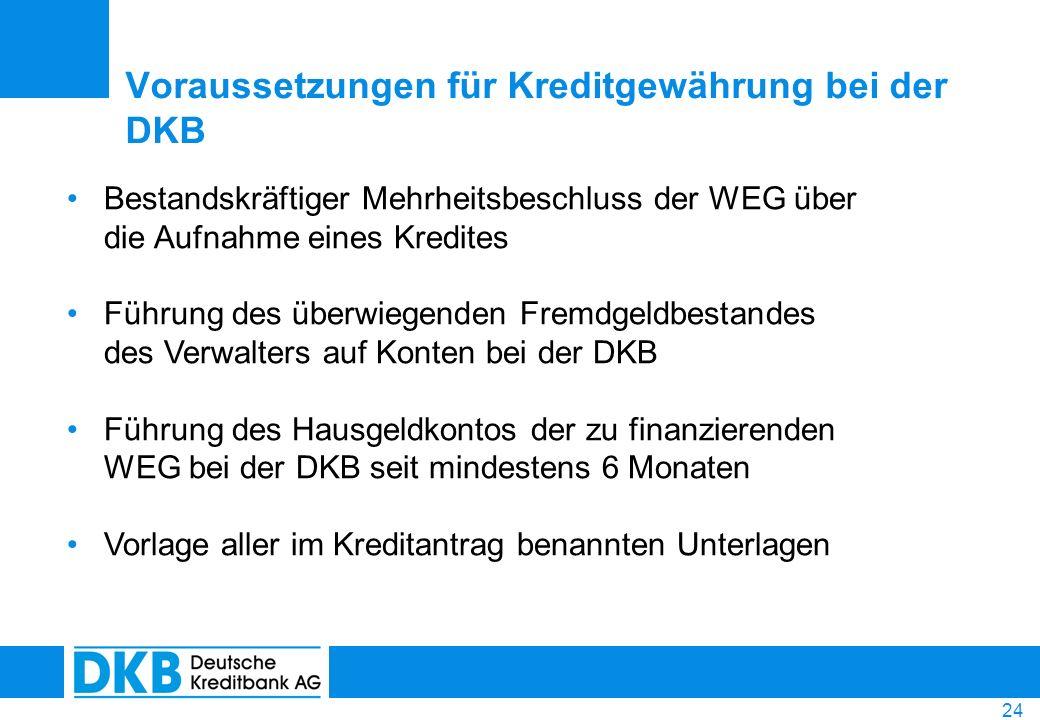 24 Voraussetzungen für Kreditgewährung bei der DKB Bestandskräftiger Mehrheitsbeschluss der WEG über die Aufnahme eines Kredites Führung des überwiege