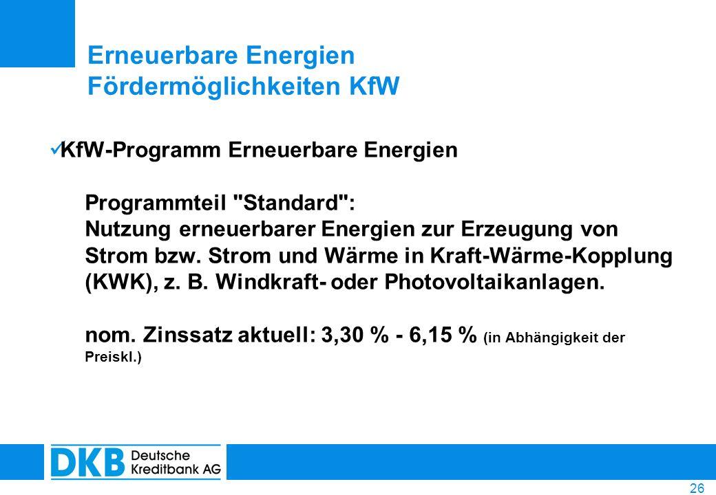 26 KfW-Programm Erneuerbare Energien Programmteil