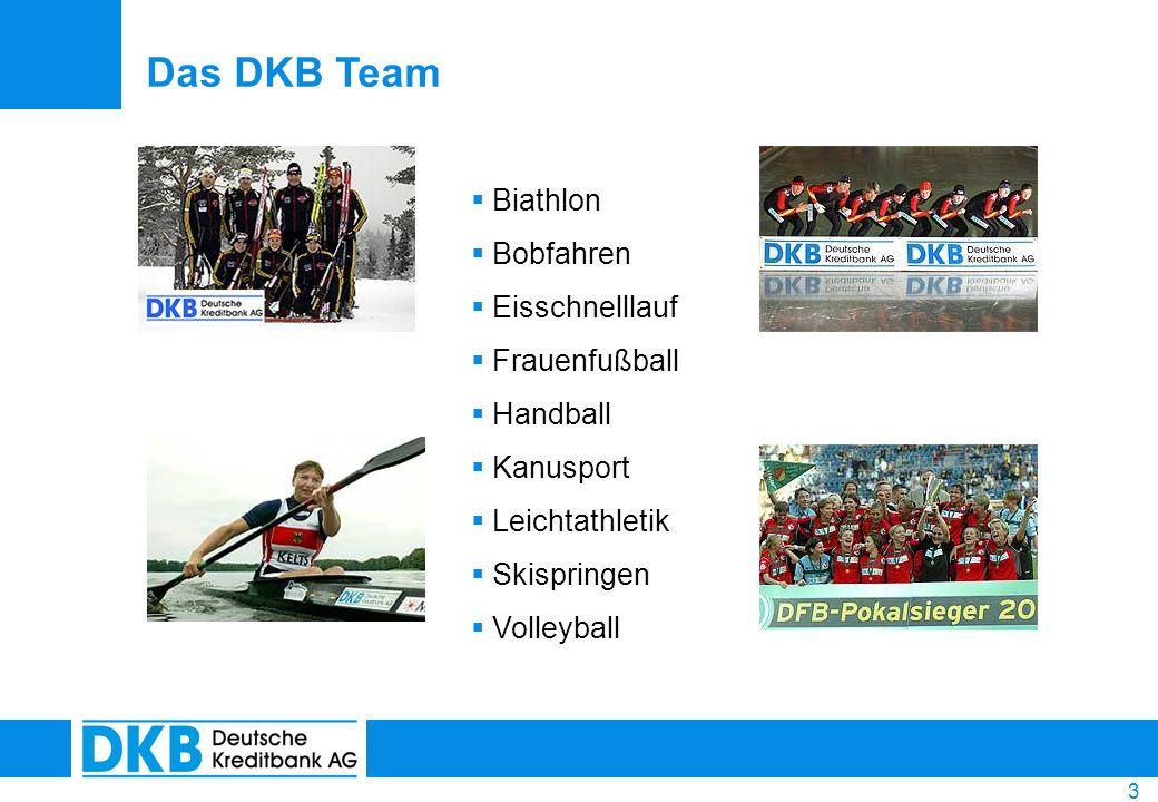 3 Biathlon Bobfahren Eisschnelllauf Frauenfußball Handball Kanusport Leichtathletik Skispringen Volleyball Das DKB Team