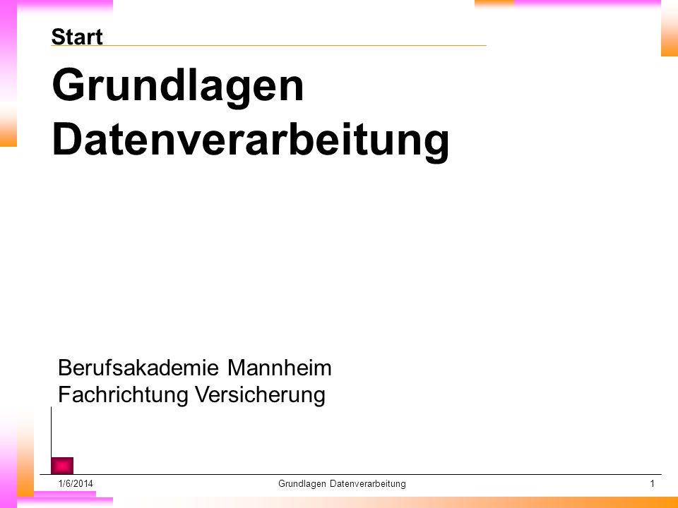 1/6/2014Grundlagen Datenverarbeitung1 Start Grundlagen Datenverarbeitung Berufsakademie Mannheim Fachrichtung Versicherung