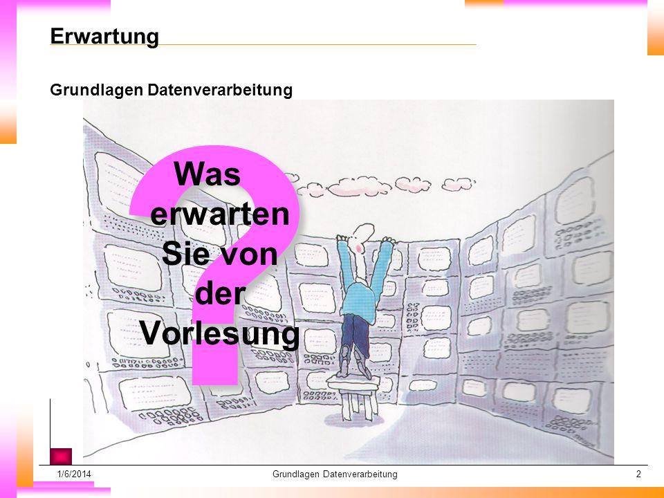 1/6/2014Grundlagen Datenverarbeitung2 Erwartung Grundlagen Datenverarbeitung .