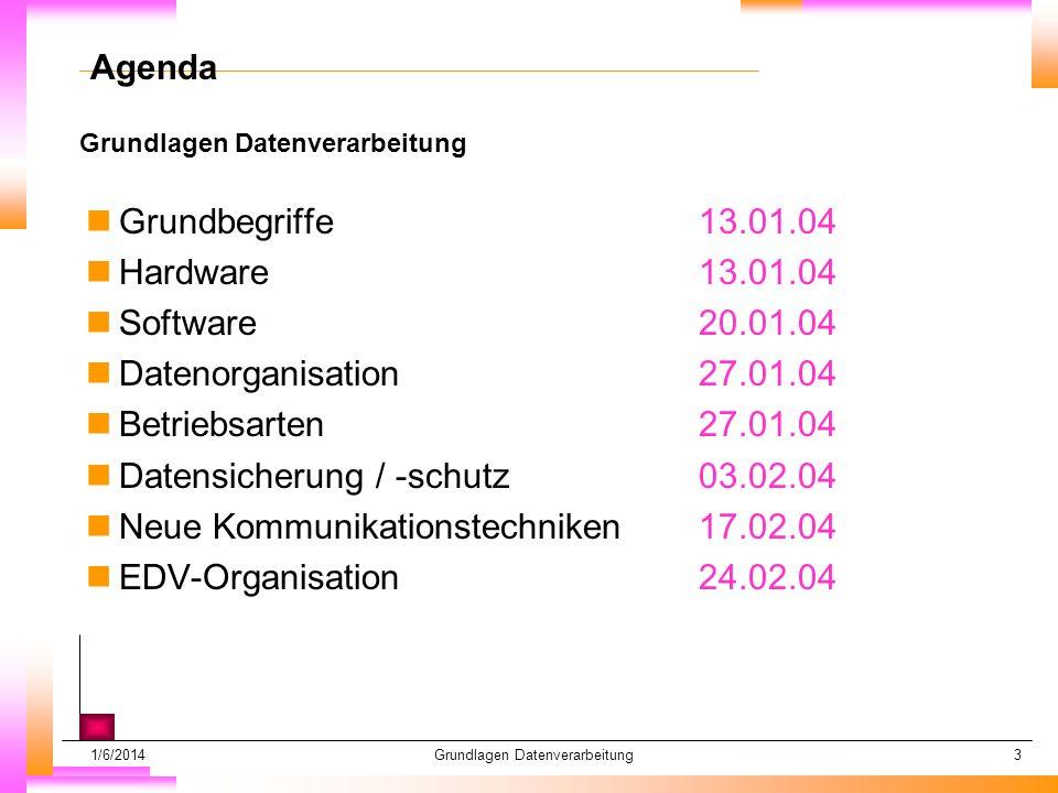 1/6/2014Grundlagen Datenverarbeitung3 Datum muß kopiert werden Subheadline muß kopiert werden Agenda nGrundbegriffe13.01.04 nHardware13.01.04 nSoftware20.01.04 nDatenorganisation27.01.04 nBetriebsarten27.01.04 nDatensicherung / -schutz03.02.04 nNeue Kommunikationstechniken17.02.04 nEDV-Organisation24.02.04