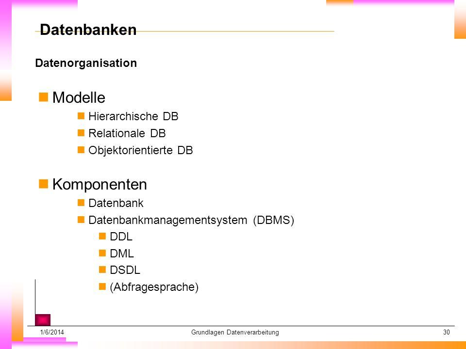 1/6/2014Grundlagen Datenverarbeitung30 Datenorganisation Datum muß kopiert werden Subheadline muß kopiert werden Datenbanken nModelle nHierarchische DB nRelationale DB nObjektorientierte DB nKomponenten nDatenbank nDatenbankmanagementsystem (DBMS) nDDL nDML nDSDL n(Abfragesprache)