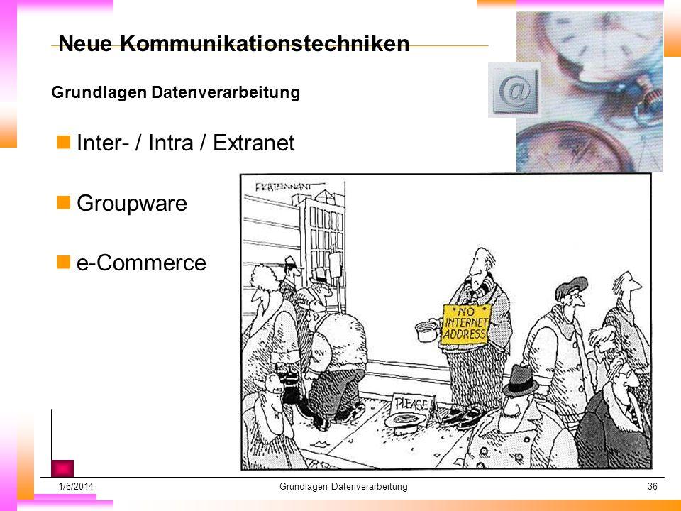 1/6/2014Grundlagen Datenverarbeitung36 Grundlagen Datenverarbeitung Datum muß kopiert werden Subheadline muß kopiert werden Neue Kommunikationstechniken nInter- / Intra / Extranet nGroupware ne-Commerce