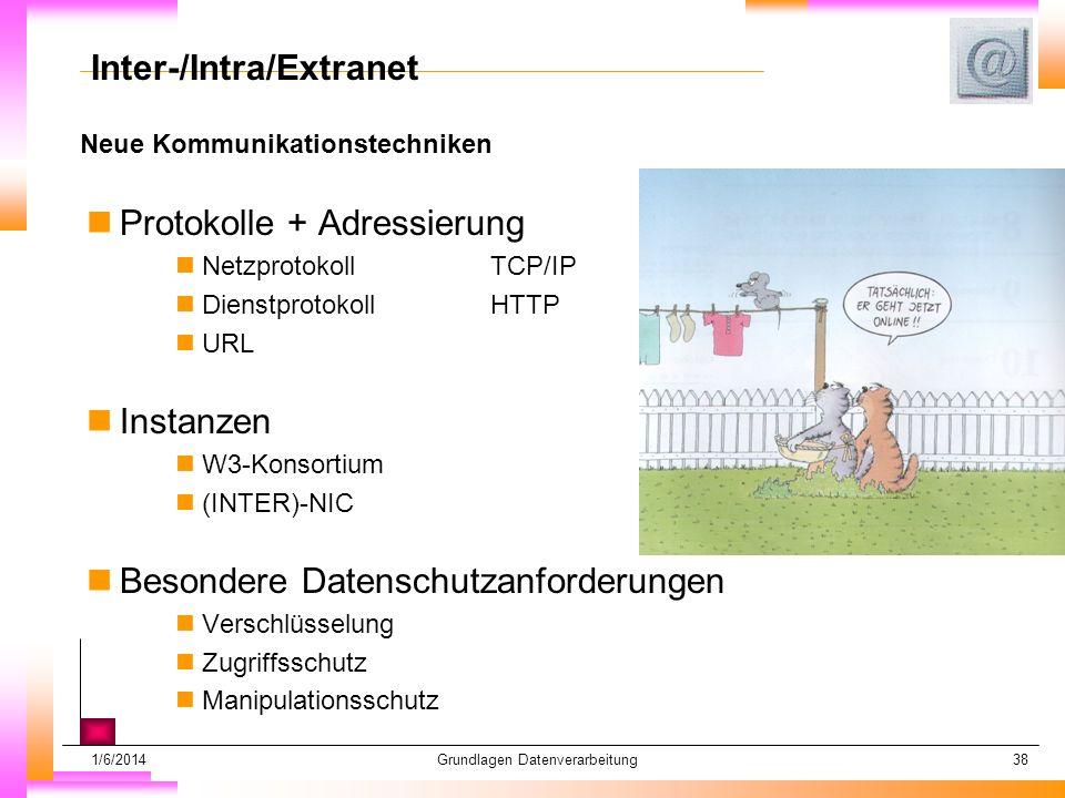 1/6/2014Grundlagen Datenverarbeitung38 Neue Kommunikationstechniken Datum muß kopiert werden Subheadline muß kopiert werden Inter-/Intra/Extranet nProtokolle + Adressierung nNetzprotokoll TCP/IP nDienstprotokoll HTTP nURL nInstanzen nW3-Konsortium n(INTER)-NIC nBesondere Datenschutzanforderungen nVerschlüsselung nZugriffsschutz nManipulationsschutz