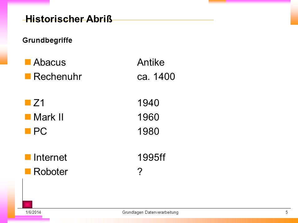 1/6/2014Grundlagen Datenverarbeitung5 Grundbegriffe Datum muß kopiert werden Subheadline muß kopiert werden Historischer Abriß nAbacusAntike nRechenuhrca.