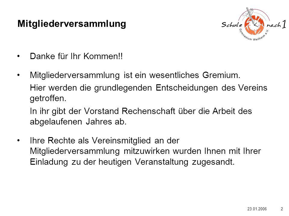 323.01.2006 Hiermit wird die erste ordentliche Mitgliederversammlung des Vereins Schule nach 1 – Gymnasium Weilheim e.