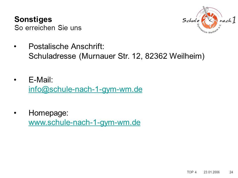 2423.01.2006 TOP 4 Sonstiges So erreichen Sie uns Postalische Anschrift: Schuladresse (Murnauer Str. 12, 82362 Weilheim) E-Mail: info@schule-nach-1-gy