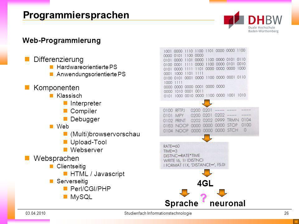 03.04.2010Studienfach Informationstechnologie26 Web-Programmierung Programmiersprachen nDifferenzierung nHardwareorientierte PS nAnwendungsorientierte