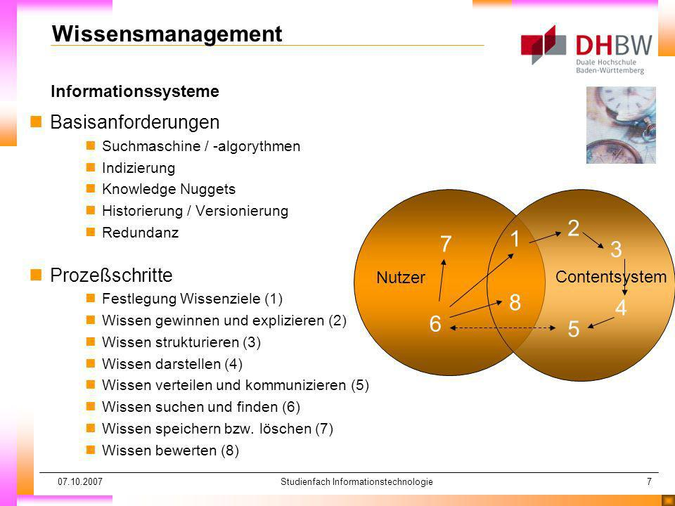 07.10.2007Studienfach Informationstechnologie7 Nutzer Contentsystem Informationssysteme Wissensmanagement nBasisanforderungen nSuchmaschine / -algoryt