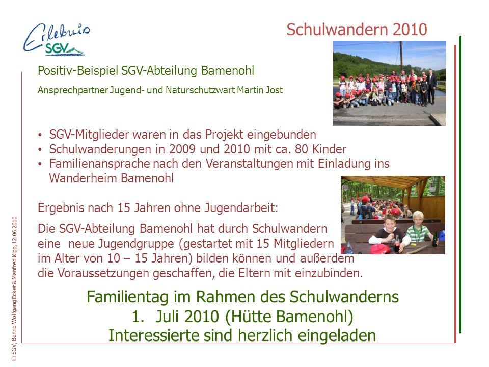 Schulwandern 2010 Positiv-Beispiel SGV-Abteilung Bamenohl Ansprechpartner Jugend- und Naturschutzwart Martin Jost SGV-Mitglieder waren in das Projekt
