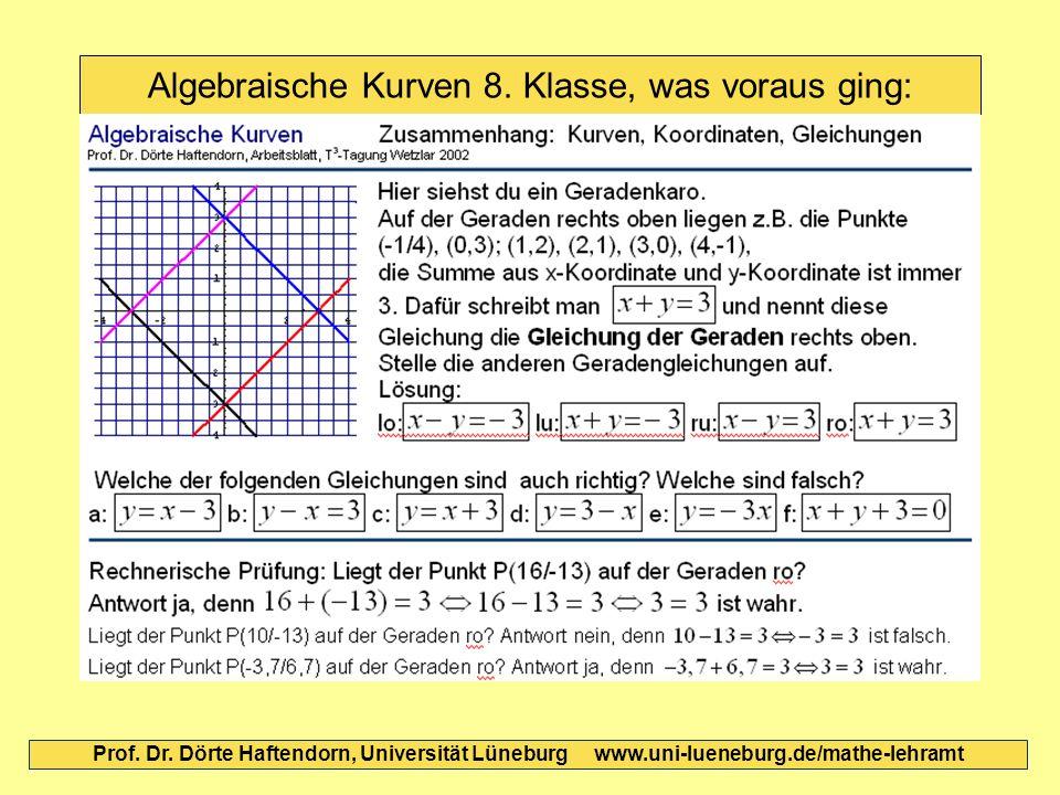 Algebraische Kurven 8. Klasse, was voraus ging: Prof. Dr. Dörte Haftendorn, Universität Lüneburg www.uni-lueneburg.de/mathe-lehramt