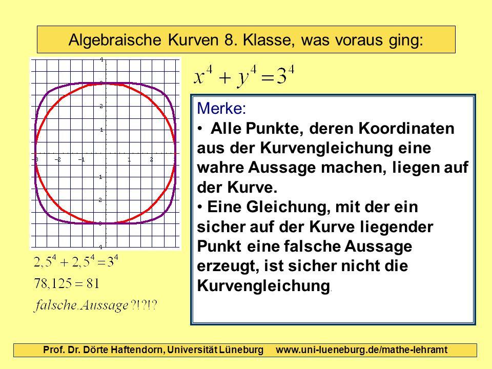 Algebraische Kurven 8. Klasse, was voraus ging: Prof. Dr. Dörte Haftendorn, Universität Lüneburg www.uni-lueneburg.de/mathe-lehramt Merke: Alle Punkte