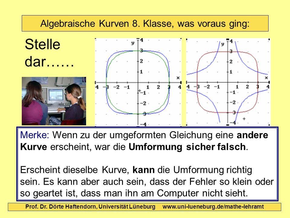 Algebraische Kurven 8. Klasse, was voraus ging: Prof. Dr. Dörte Haftendorn, Universität Lüneburg www.uni-lueneburg.de/mathe-lehramt Stelle dar…… Merke
