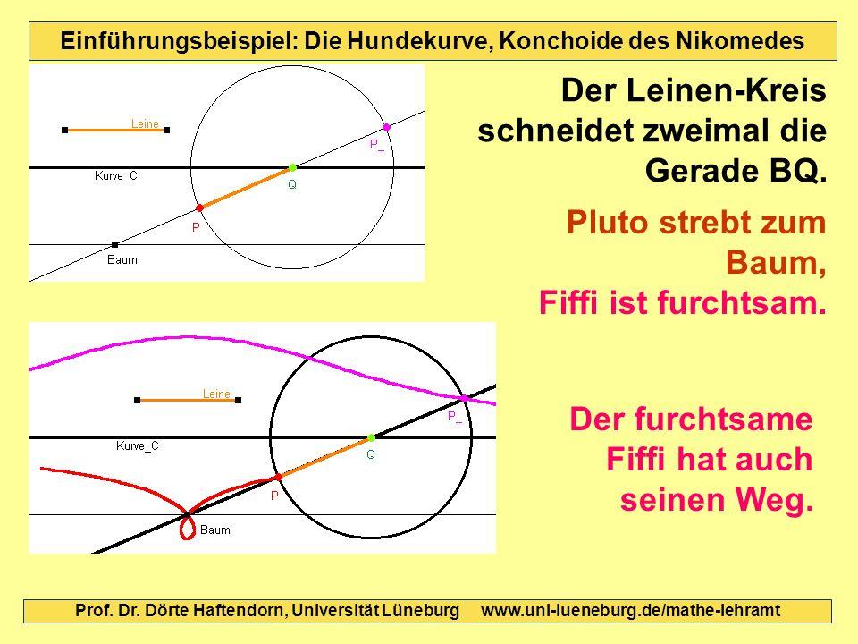 Einführungsbeispiel: Die Hundekurve, Konchoide des Nikomedes Der Leinen-Kreis schneidet zweimal die Gerade BQ. Der furchtsame Fiffi hat auch seinen We