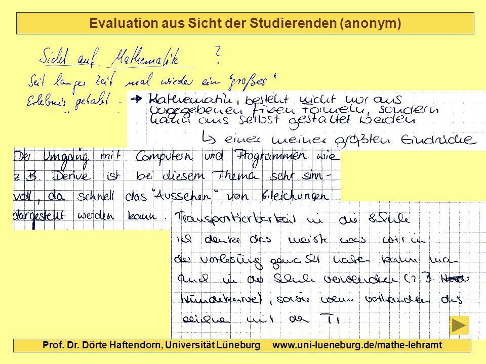 Evaluation aus Sicht der Studierenden (anonym) Prof. Dr. Dörte Haftendorn, Universität Lüneburg www.uni-lueneburg.de/mathe-lehramt