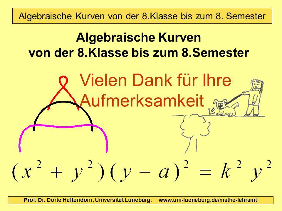 Algebraische Kurven von der 8.Klasse bis zum 8.Semester Prof. Dr. Dörte Haftendorn, Universität Lüneburg, www.uni-lueneburg.de/mathe-lehramt Vielen Da