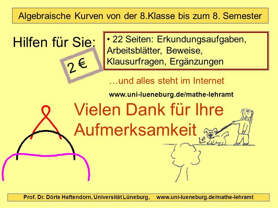Prof. Dr. Dörte Haftendorn, Universität Lüneburg, www.uni-lueneburg.de/mathe-lehramt Algebraische Kurven von der 8.Klasse bis zum 8. Semester 22 Seite