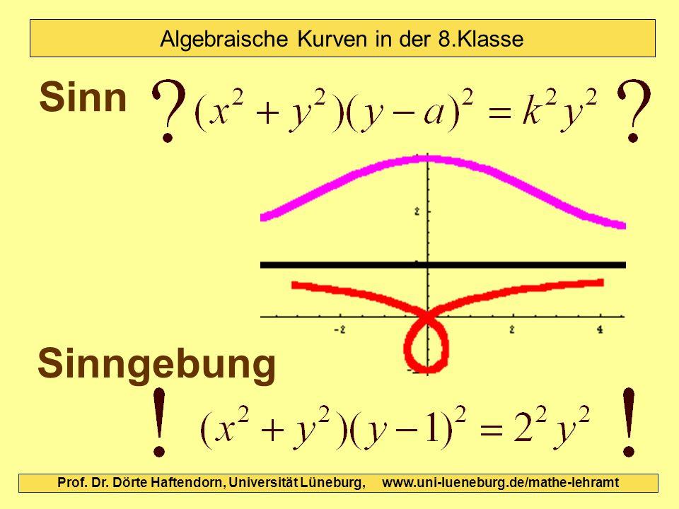 Sinn Sinngebung Prof. Dr. Dörte Haftendorn, Universität Lüneburg, www.uni-lueneburg.de/mathe-lehramt Algebraische Kurven in der 8.Klasse