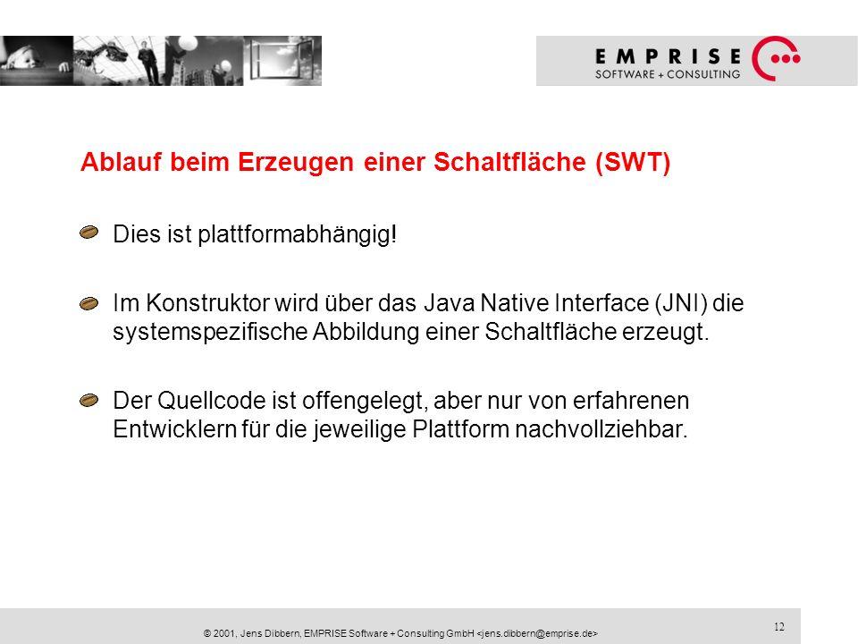 12 © 2001, Jens Dibbern, EMPRISE Software + Consulting GmbH Ablauf beim Erzeugen einer Schaltfläche (SWT) Dies ist plattformabhängig! Im Konstruktor w