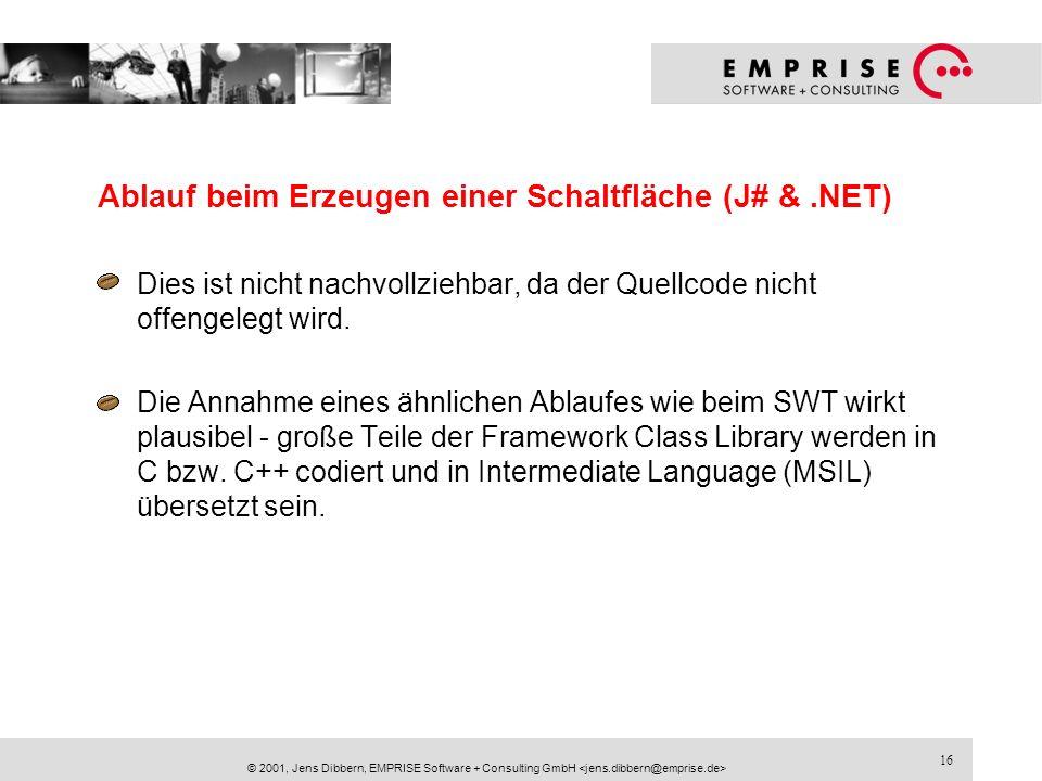16 © 2001, Jens Dibbern, EMPRISE Software + Consulting GmbH Ablauf beim Erzeugen einer Schaltfläche (J# &.NET) Dies ist nicht nachvollziehbar, da der