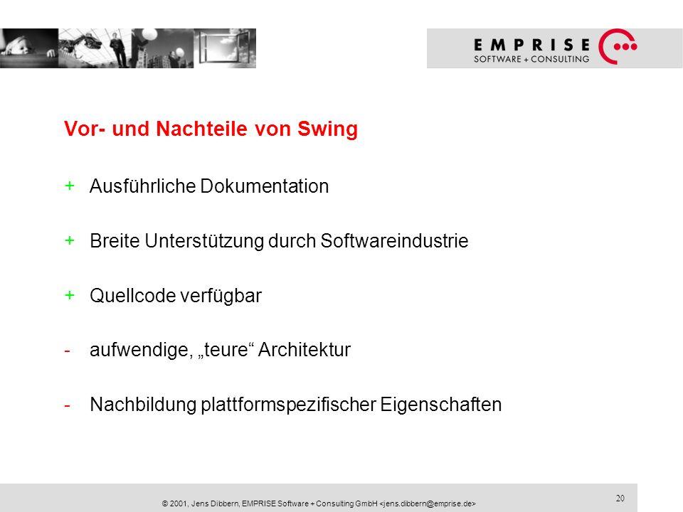 20 © 2001, Jens Dibbern, EMPRISE Software + Consulting GmbH Vor- und Nachteile von Swing +Ausführliche Dokumentation +Breite Unterstützung durch Softw