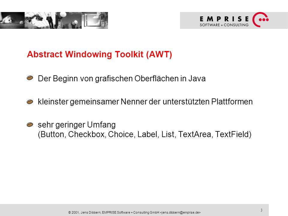 24 © 2001, Jens Dibbern, EMPRISE Software + Consulting GmbH Regeln für die Benutzung des SWT If you created it, you dispose it.