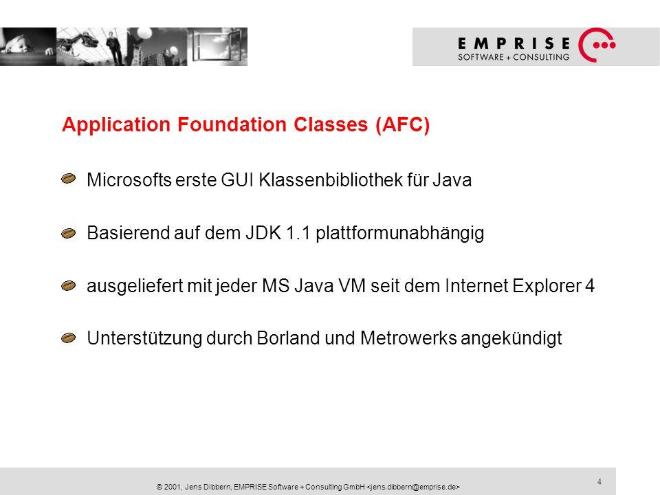 5 © 2001, Jens Dibbern, EMPRISE Software + Consulting GmbH Windows Foundation Classes (WFC) Microsofts zweite GUI Klassenbibliothek für Java fokussiert auf Microsoft Windows verbunden mit der Microsoft Java VM