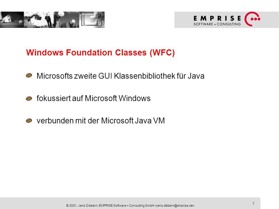 6 © 2001, Jens Dibbern, EMPRISE Software + Consulting GmbH Java Foundation Classes (JFC/Swing) Von Sun für das JDK 1.1 nachgeliefert Bestandteil der Java 2 Plattform aufwendig gestaltet mit Pluggable Look & Feels unterstützt von den meisten Entwicklungsumgebungen