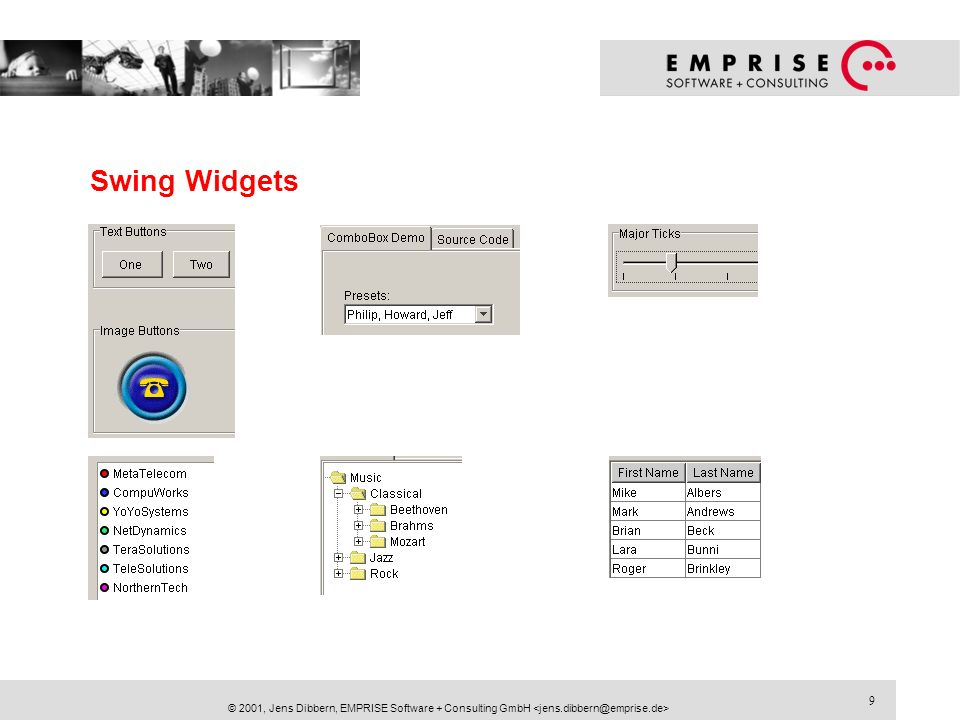9 © 2001, Jens Dibbern, EMPRISE Software + Consulting GmbH Swing Widgets