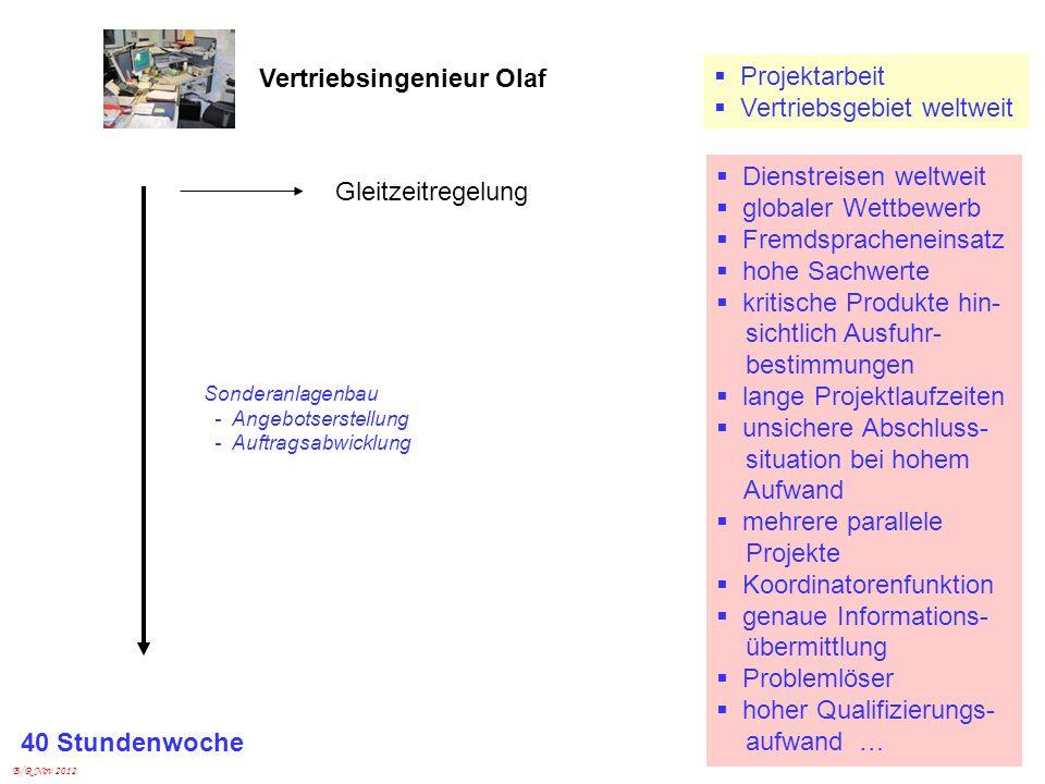 B/R Nov 2012 Vertriebsingenieur Olaf Dienstreisen weltweit globaler Wettbewerb Fremdspracheneinsatz hohe Sachwerte kritische Produkte hin- sichtlich A