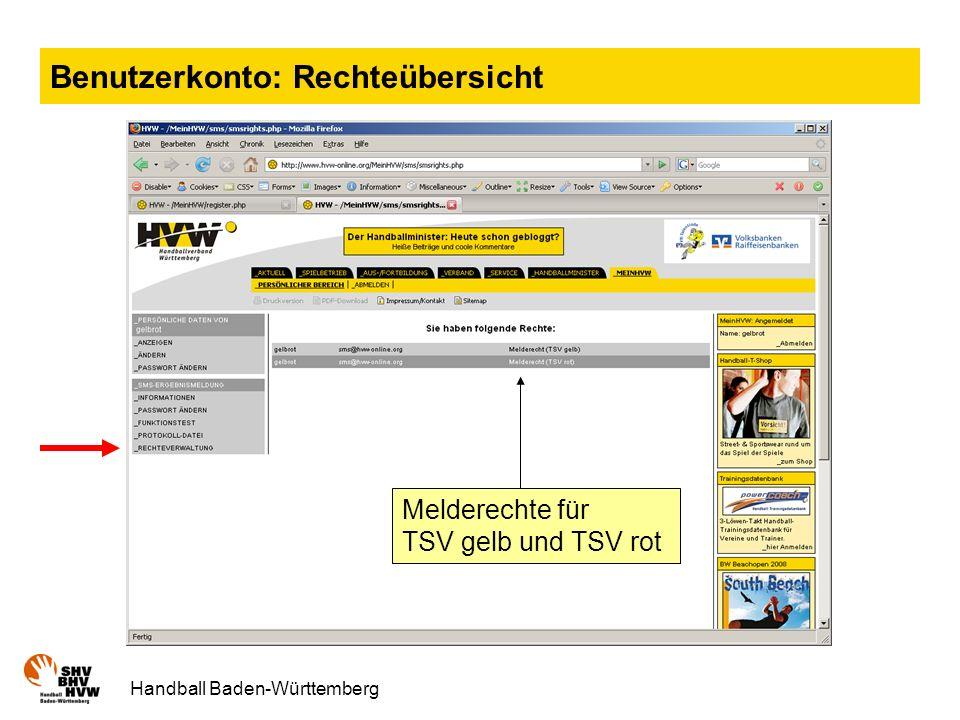 Handball Baden-Württemberg Benutzerkonto: Rechteübersicht Melderechte für TSV gelb und TSV rot