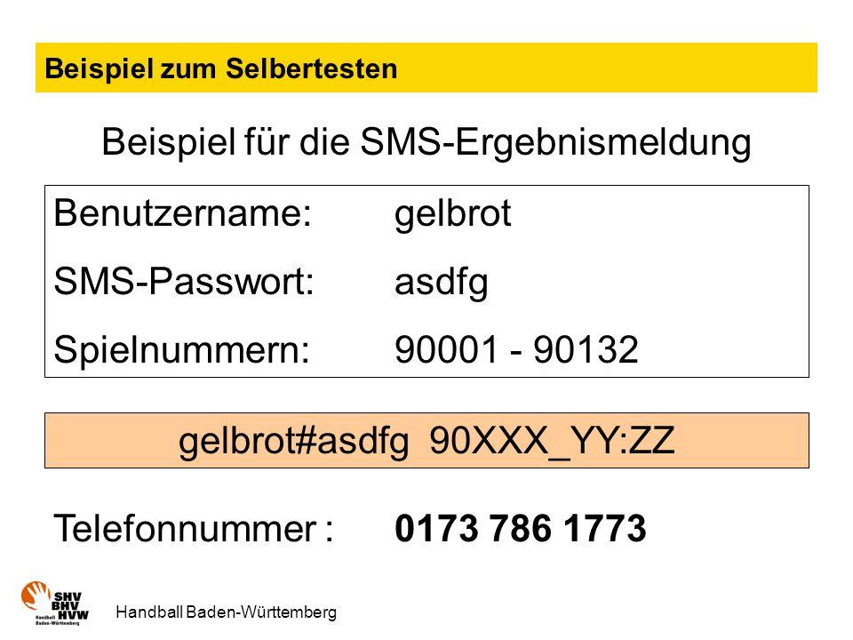 Handball Baden-Württemberg Beispiel zum Selbertesten Beispiel für die SMS-Ergebnismeldung Benutzername: gelbrot SMS-Passwort:asdfg Spielnummern: 90001 - 90132 gelbrot#asdfg 90XXX_YY:ZZ Telefonnummer : 0173 786 1773