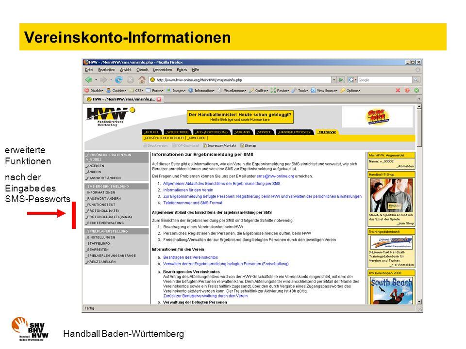 Handball Baden-Württemberg Vereinskonto-Informationen erweiterte Funktionen nach der Eingabe des SMS-Passworts