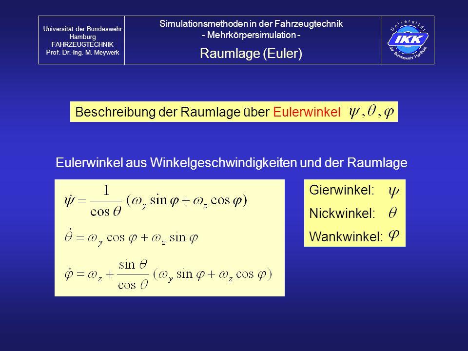 Raumlage (Euler) Universität der Bundeswehr Hamburg FAHRZEUGTECHNIK Prof. Dr.-Ing. M. Meywerk Simulationsmethoden in der Fahrzeugtechnik - Mehrkörpers