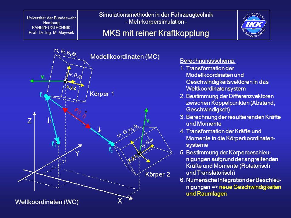 MKS mit reiner Kraftkopplung Universität der Bundeswehr Hamburg FAHRZEUGTECHNIK Prof. Dr.-Ing. M. Meywerk Simulationsmethoden in der Fahrzeugtechnik -