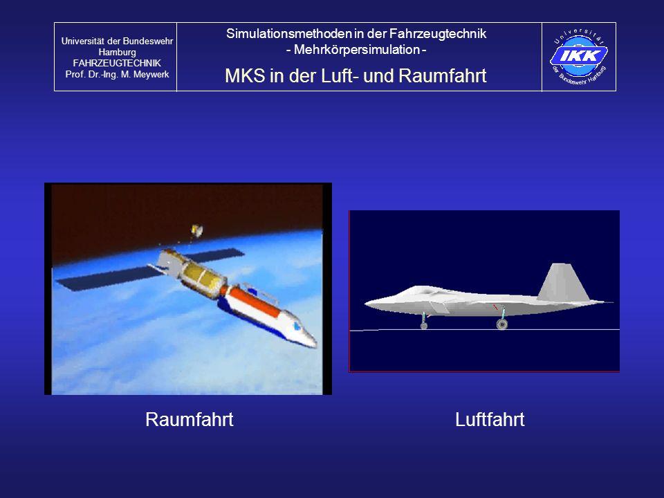 RaumfahrtLuftfahrt MKS in der Luft- und Raumfahrt Universität der Bundeswehr Hamburg FAHRZEUGTECHNIK Prof. Dr.-Ing. M. Meywerk Simulationsmethoden in