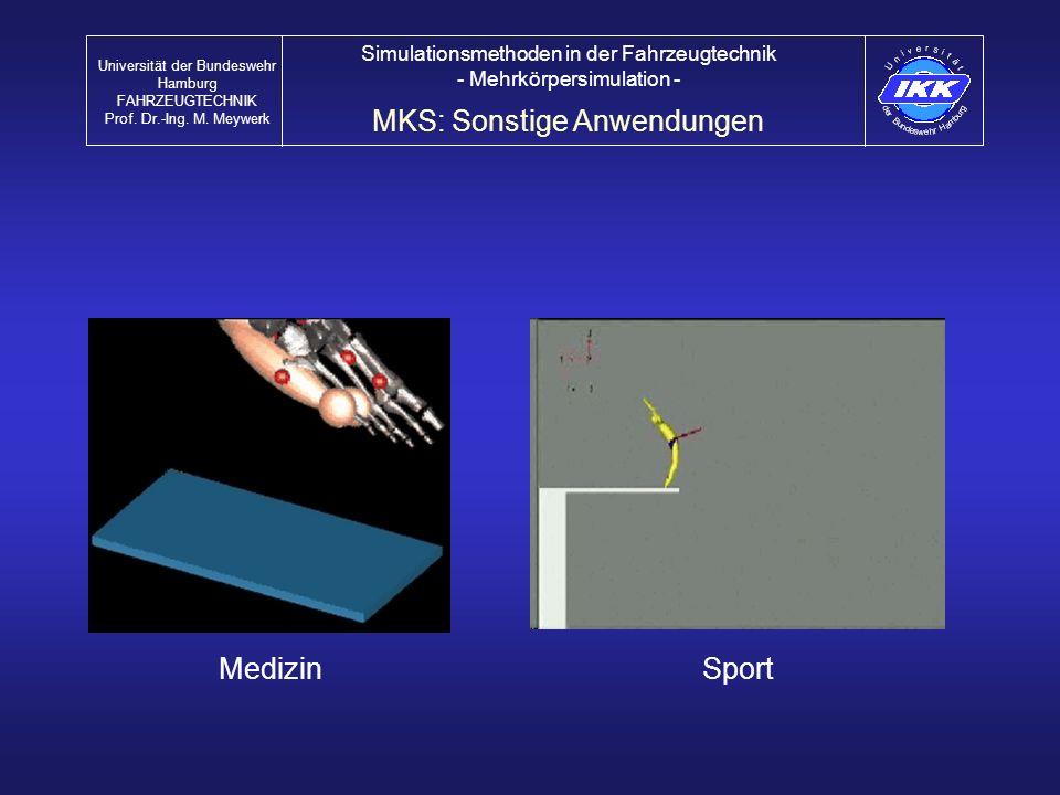 MedizinSport MKS: Sonstige Anwendungen Universität der Bundeswehr Hamburg FAHRZEUGTECHNIK Prof. Dr.-Ing. M. Meywerk Simulationsmethoden in der Fahrzeu