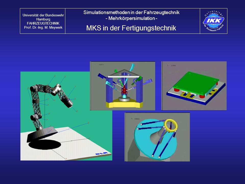 MKS in der Fertigungstechnik Universität der Bundeswehr Hamburg FAHRZEUGTECHNIK Prof. Dr.-Ing. M. Meywerk Simulationsmethoden in der Fahrzeugtechnik -