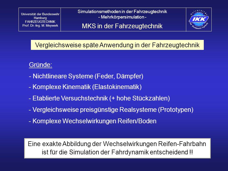 Vergleichsweise späte Anwendung in der Fahrzeugtechnik - Nichtlineare Systeme (Feder, Dämpfer) - Komplexe Wechselwirkungen Reifen/Boden MKS in der Fah