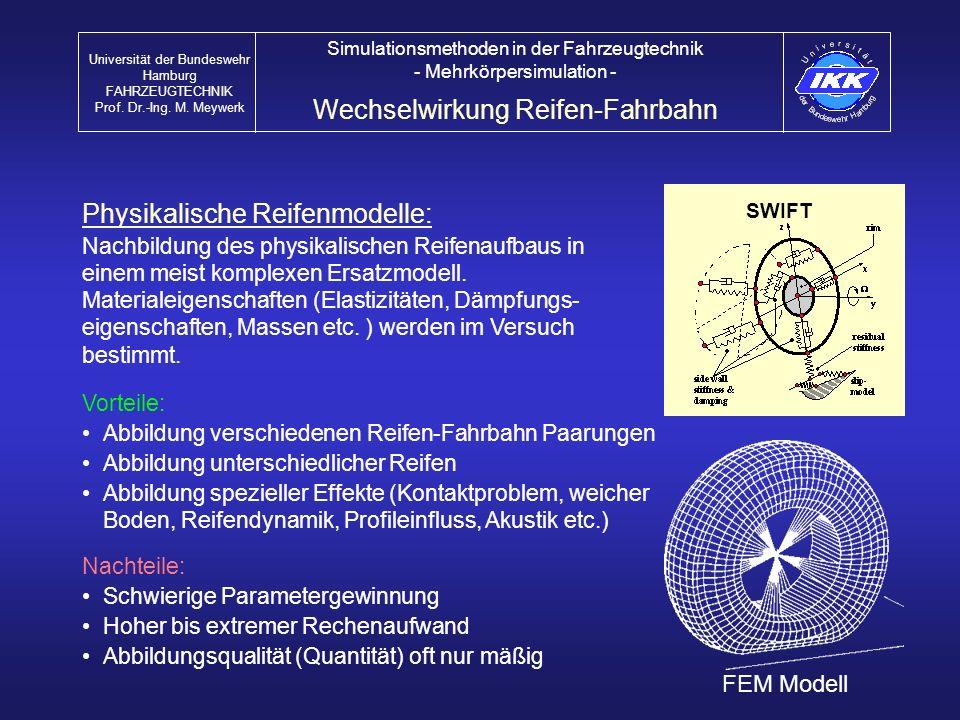 Physikalische Reifenmodelle: Nachbildung des physikalischen Reifenaufbaus in einem meist komplexen Ersatzmodell. Materialeigenschaften (Elastizitäten,